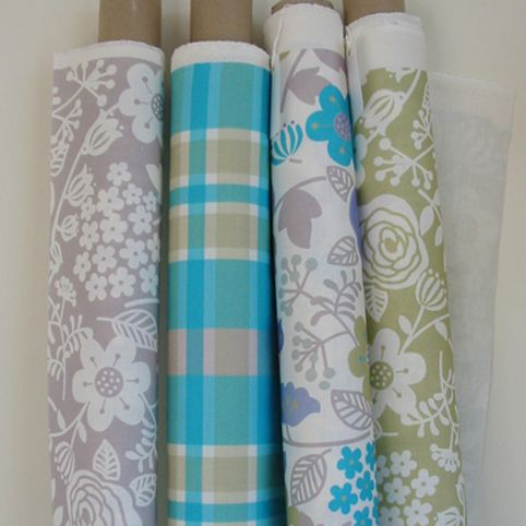 From left to right. Floral Spray in dove, Geoffrey Check in bright teal, Floral Spray  in bright teal and pistachio and Floral Spray in pistachio. www.jacquelinemilton.co.uk
