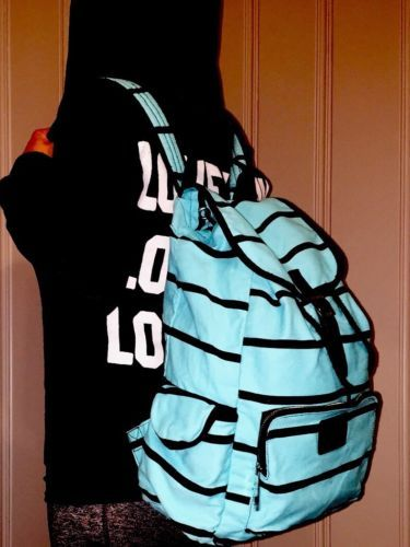 Victoria-Secret-Pink-Striped-Blue-Backpack-Book-Bag-Vibrant-Turquoise-Canvas-VS
