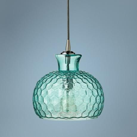 Clark Collection 10 Quot Wide Aqua Jamie Young Glass Pendant