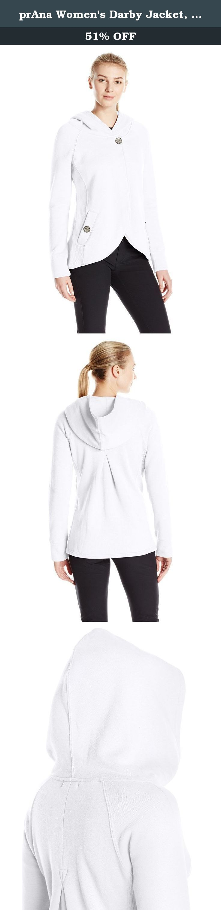 prAna Women's Darby Jacket, White, Large. The prAna Darby Jacket sports a stylish swing silhouette when fastened at its top button. Organic cotton blended fleece is a comfortable weight both day and night; put your hood up if it gets chilly.