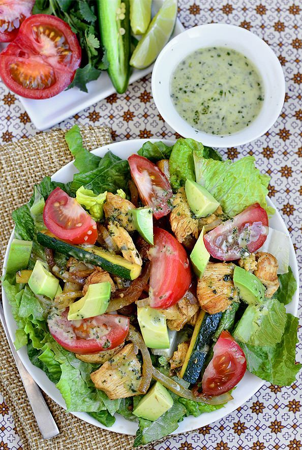 Sizzling Chicken Fajita Salad with Cilantro Lime  Vinaigrette  | Iowa Girl Eats #paleo