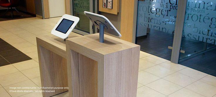 """Touchtime - 2 supports iPad Air sécurisés """"iframe"""" dans l'agence Caisse d'Epargne Boulogne Rive de Seine"""