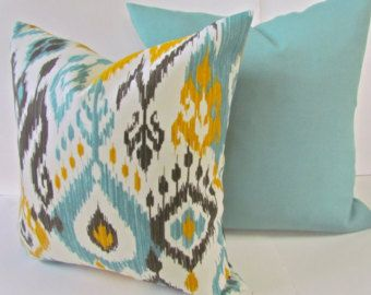patterned pillows red mustard turquoise gray - Google Search