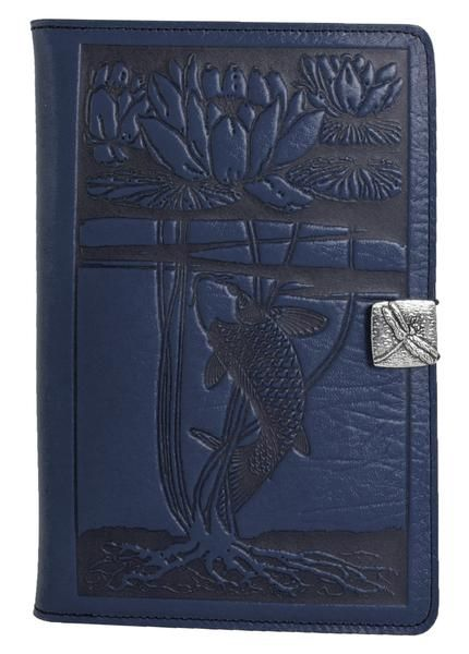 Leather iPad mini cases, covers & accessories and made in U.S.A., offered in a variety of images & colors. Water Lily Koi.