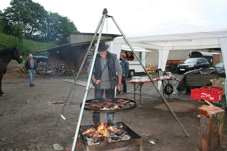 A German Schwenker grill! Swing it and everything grills evenly; very portable!