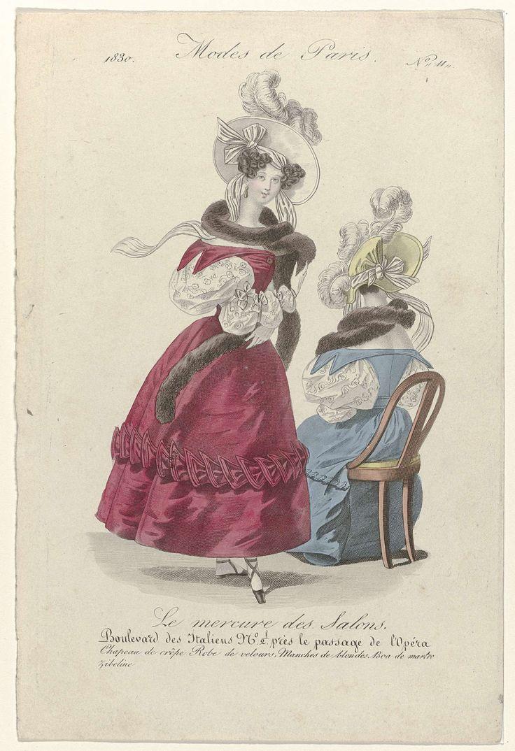 Anonymous | Le Mercure des Salons, 1830, No. 11: Chapeau de crêpe..., Anonymous, 1830 | Hoed van crêpe. Japon van fluweel met mamelukkenmouwen van Blonde (kloskant). Boa van 'martre zibeline'. Prent uit het modetijdschrift Le Mercure des Salons( janvier 1830 - mars 1831).