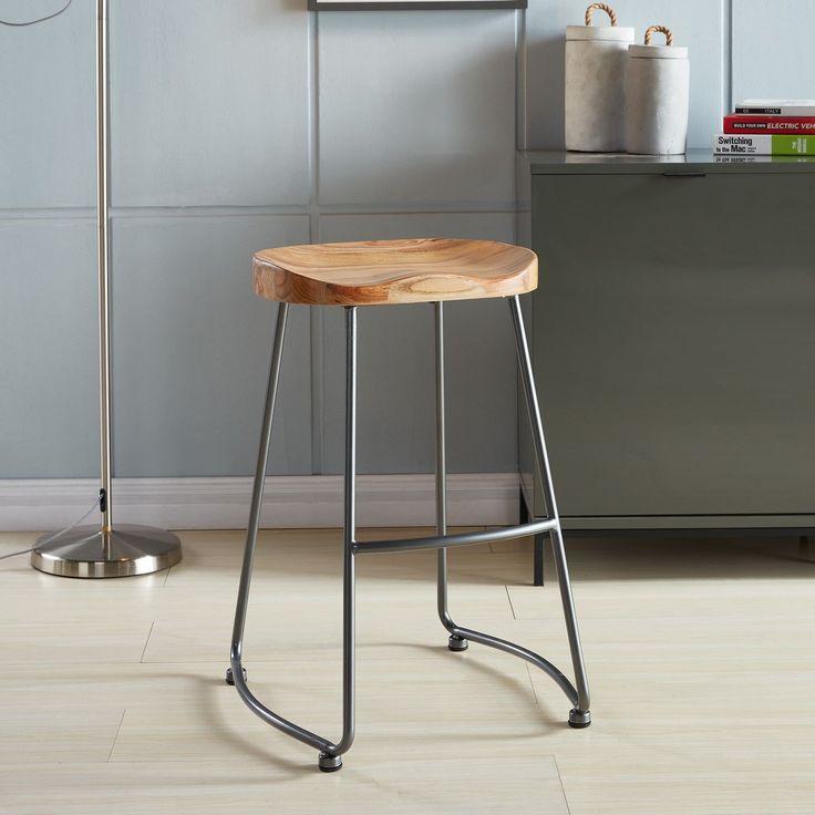 Moka Solid Wood And Metal Counter Stool Set Of 2