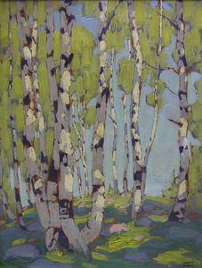 ☼ Painterly Landscape Escape ☼  landscape painting by Lawren Harris - Birches