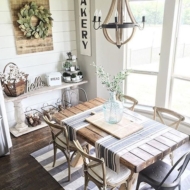 Farmhouse Dining Table Is A Great Addition To Create Rustic Cozy Look In A Dining Room French Country Dining Room Country Dining Rooms Farm House Living Room #rustic #cozy #living #room