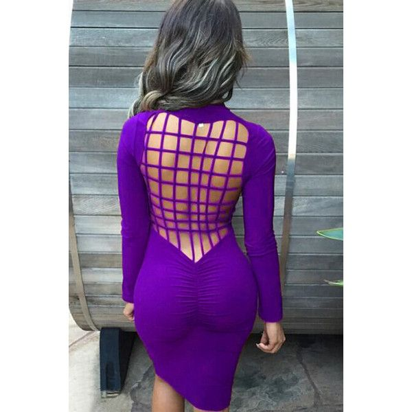 Purple Solid Color Long Sleeve Caged Back Bodycon Dress ($15) ❤ liked on Polyvore featuring dresses, purple, long sleeve purple dress, bodycon dress, sexy long sleeve dresses, body conscious dress and sexy body con dresses