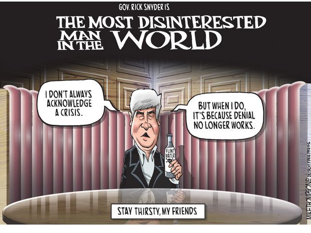 Gov. Snyder finally admits Flint drinking water is toxic... and then, does... nothing. Mike Thompson's cartoon gallery of Gov. Rick Snyder cartoons