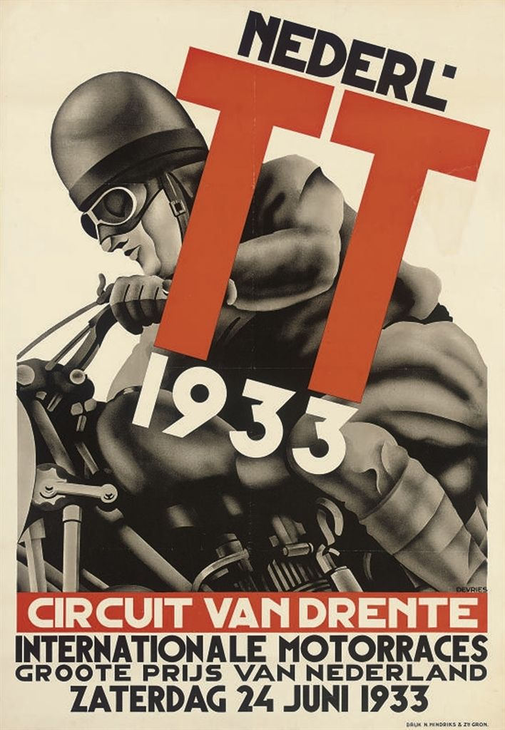 DEVRIES   TT 1933, CIRCUIT VAN DRENTE   lithograph in colours, 1933, printed by N.Hindriks & Zn., condition B B+; backed on linen  43 x 29½in. (109 x 75cm.)
