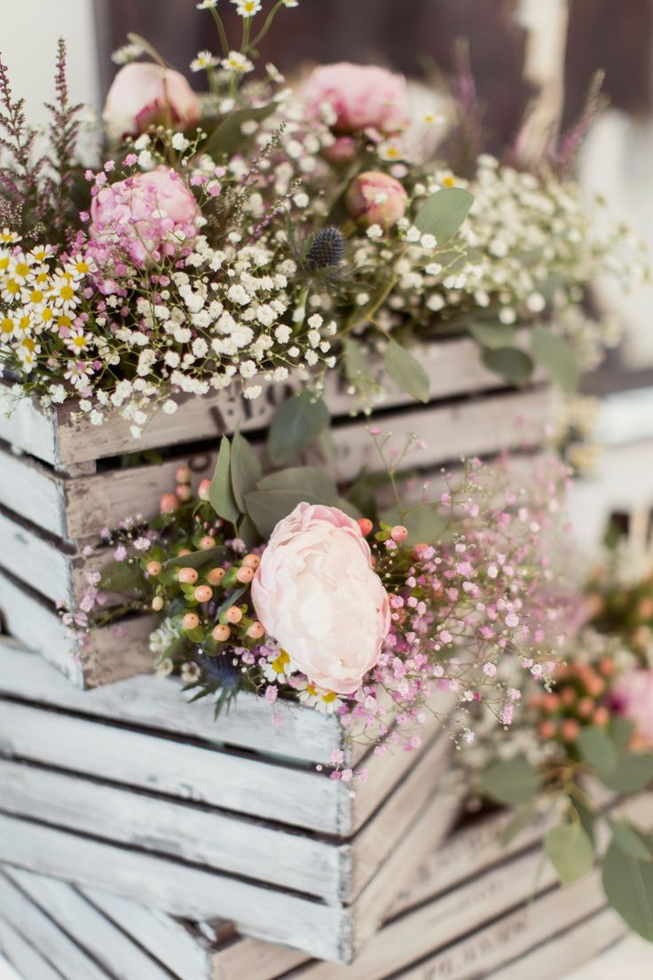 Country garden wedding flowers - peonies, gypsophila and thistle - Rustic crates - Want That Wedding: Wedding Inspiration & Ideas Blog – A Beautiful & Breathtaking, Celtic Handfasting Wedding By The Sea: Sarah & Neil