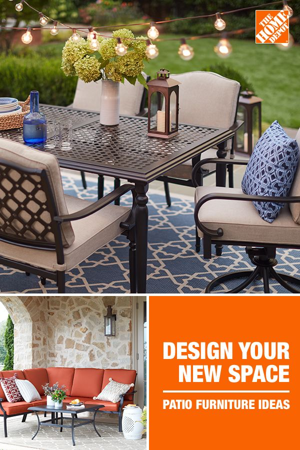 Take The Party Outside With New Patio Selections At The Home Depot From High Quality Collections Like Laur With Images Beautiful Outdoor Furniture Patio Decor Patio Spaces
