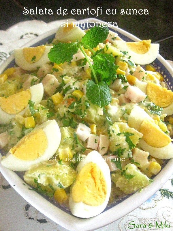 Salata de cartofi cu sunca si maioneza