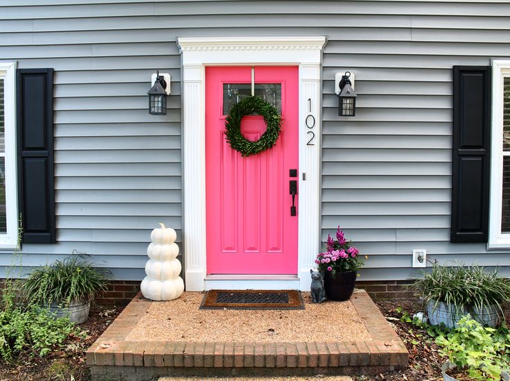 Grey House Pink Door Paint Valspar Hint Of Cherry