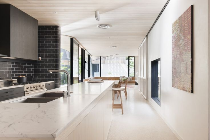 Brick House / Clare Cousins Architects. Marble bench, light stone floors. Great colour combo's.