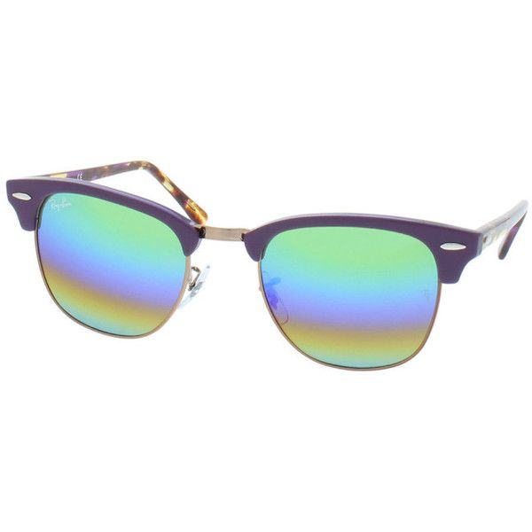 Ray-Ban Sunglasses - Clubmaster RB 0Rb 3016 51 1221C3 - in purple,... ($170) ❤ liked on Polyvore featuring accessories, eyewear, sunglasses, mirrored lens sunglasses, aviator sunglasses, rainbow lens sunglasses, mirrored wayfarer sunglasses and mirror sunglasses