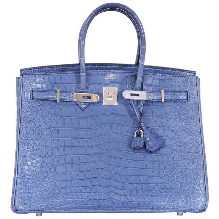 Hermes Birkin Bag 35cm Matte Bleu Brighton Porosus Crocodile Palladium