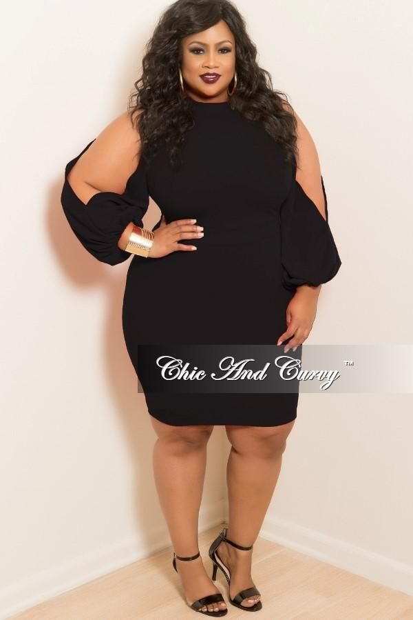 Plus Size BodyCon Dress with Slit Sleeves in Black – Chic And Curvy