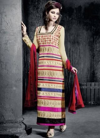 Cream Georgette Embroidery Work Designer Churidar Suit#churidars#salwar#kameez  http://www.angelnx.com/Salwar-Kameez/Churidar-Suits