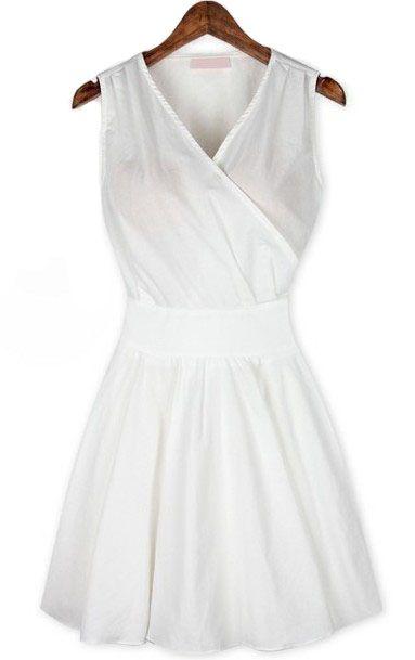 White V Neck Sleeveless Pleated Wrap Front Dress