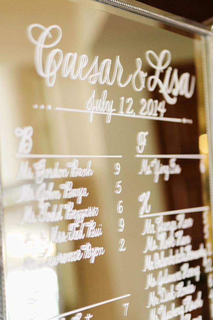 Lisa and Caesar's wedding at the St. Regis Monarch Beach, glamorous mirrored table number display, Jana Williams Photography http://loveluxelife.com/love-lisa-and-caesar-st-regis-monarch-beach/
