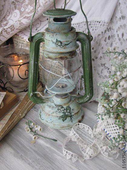 """"""" Ландыши """" Керосиновая лампа. - зелёный,керосиновая лампа,винтаж,деревенский стиль"""
