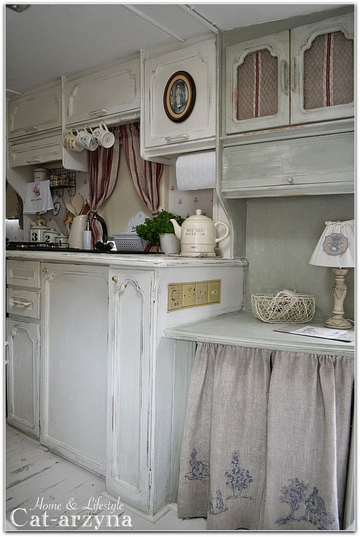 Cottage Kitchen W/ Cabinet Curtains Instead Of Wood Doors   Conserves Trees    Earth Needs. Shabby Chic ...