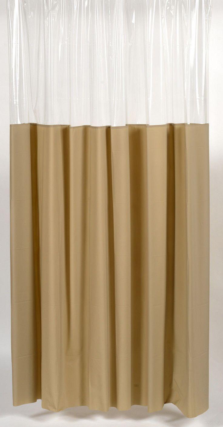 Window Vinyl Shower Curtain with Metal Grommets, Linen