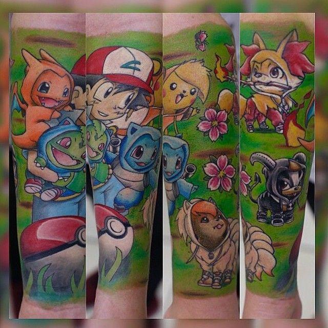 Awesome Pokemon sleeve done by @jodie_alva. #tattoos #ink #sleeve #videogametattoo #gamertattoo #gamerink #gamersleeve #videogames #gamer #gaming #nintendo #gameboy #ashketchum #pikachu #charmander #bulbasaur #squirtle #pocketball #pokemon #pokemontattoo