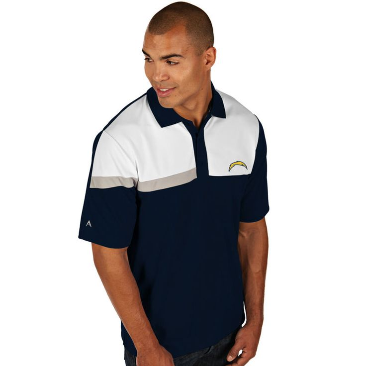 Antigua Los Angeles Chargers  Player Polo - Navy Blue/White