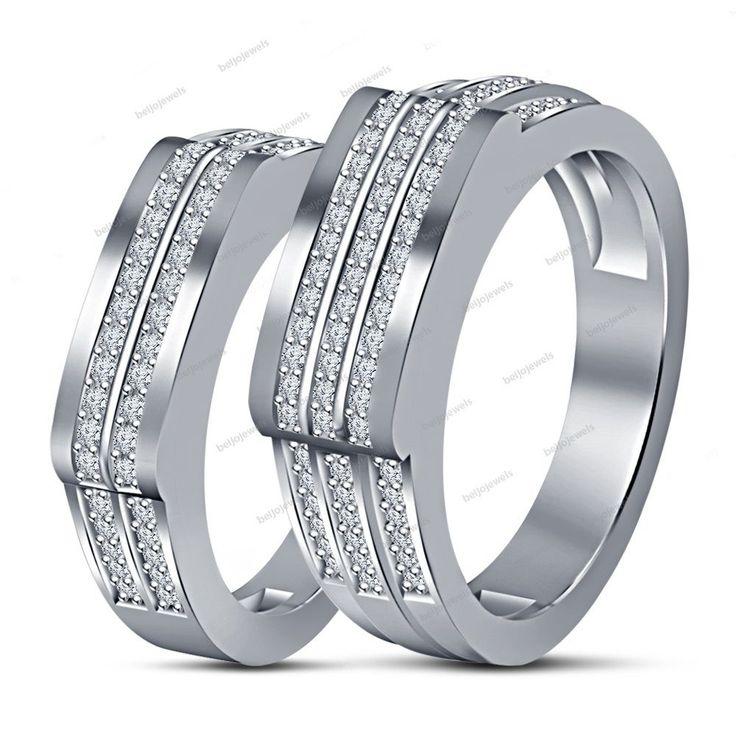 Women Men Unisex Couple White Gold Finish Engagement Wedding Band Rings New