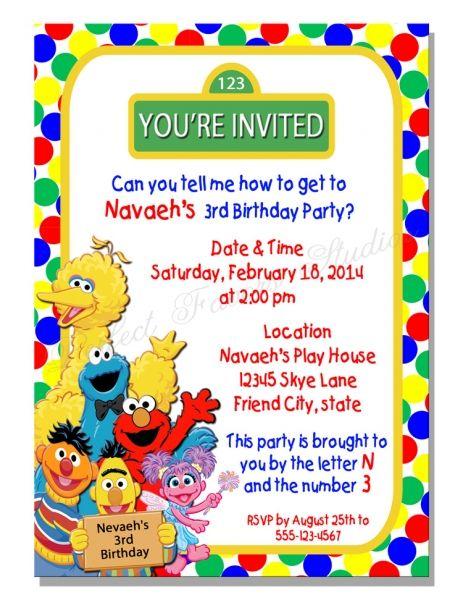 Sesame Street Inspired Birthday Invitation