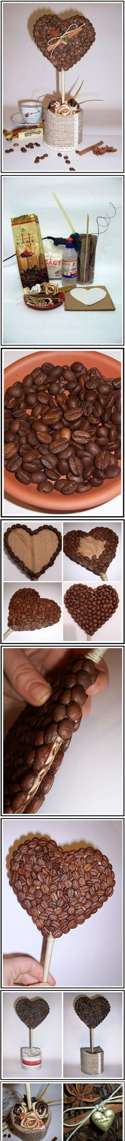 DIY Heart Coffee Tree Gift. Great for Mothers Day. :)