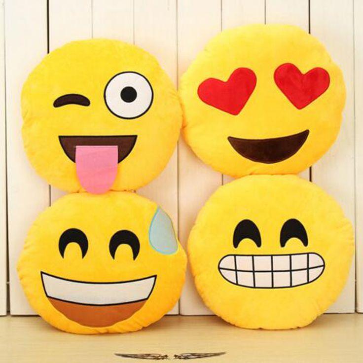 32 cm Creativo Emoji Almohada Rellena Suave de la Felpa Muñeca de Juguete Ronda Emoticon Sonriente Cara Almohada Cojín Decoración Para El Hogar Sofá Cama Throw A2