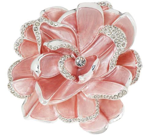 NEW-Joan-Rivers-Limited-Edition-Pink-Pave-039-Gardenia-FLOWER-BROOCH-Pin