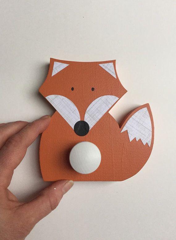 Fox Wall Hook Orange Fox Woodland Kids Decor by MapleShadeKids