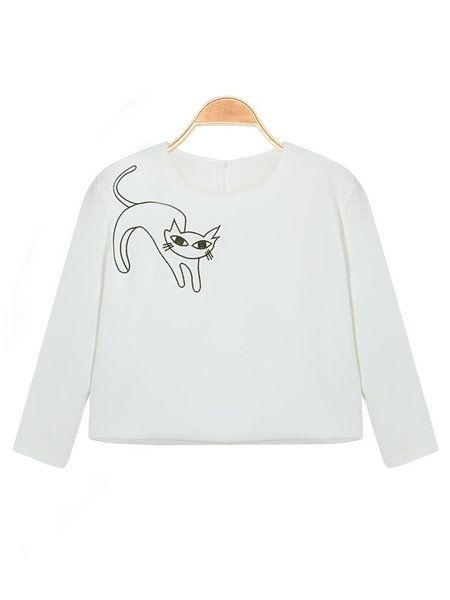 Cats O-Neck Long Sleeve Top Cats Short Skirt Twinset - US$30.22