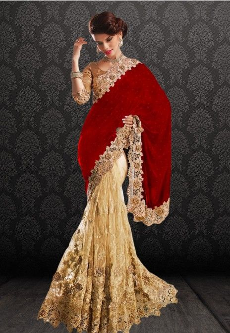 Beige & Red Embroidered Net & Velvet Party Wear Saree