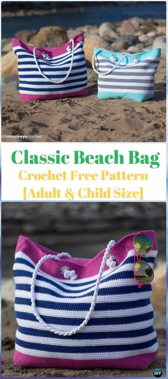 Crochet Classic Beach Bag Adult & Child Size Free Pattern - Crochet Handbag Free Patterns