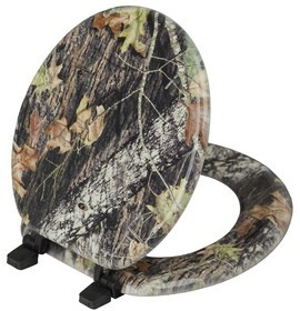 """Magnolia Camouflage Mossy Oak Break Up Pattern Toilet Seat. For the bathroom in the """"Man Cave""""*. He would love this!!"""