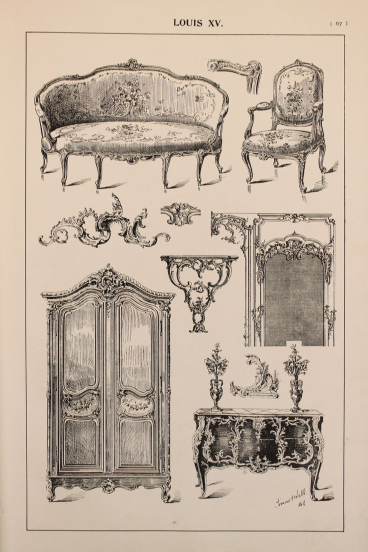 Rococo furniture sketch - French Louis Xv Furniture Designs Large Antique Black White Print Interior Design Arts And Crafts