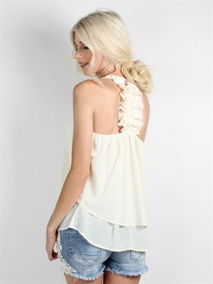 Zanca Sonne - Creme farvet top med layer effekt i bunden og smuk ryg
