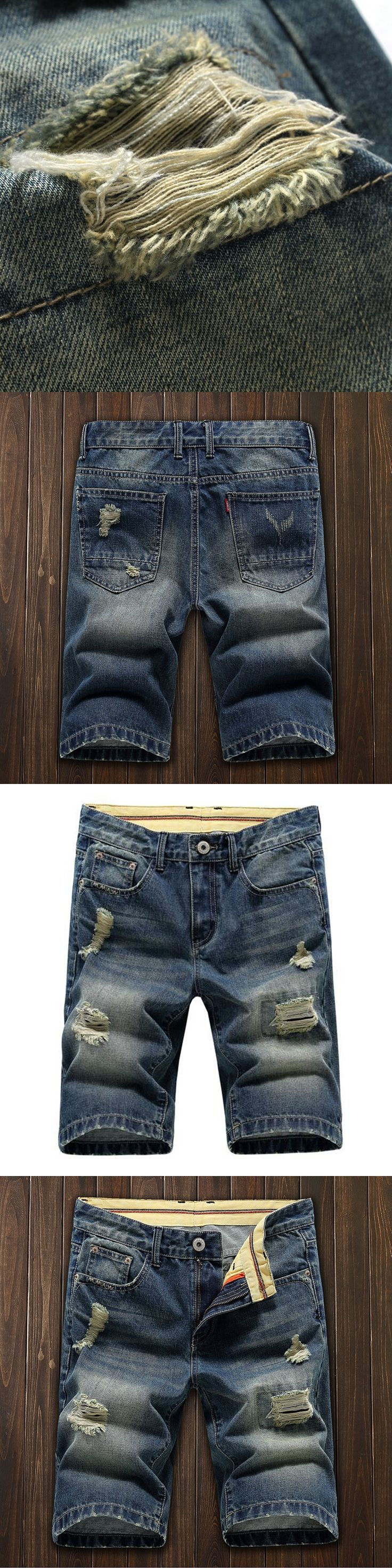 summer style 2017 Vintage solid retro denim shorts homme knee length ripped jeans shorts men straight bermuda casual size 38