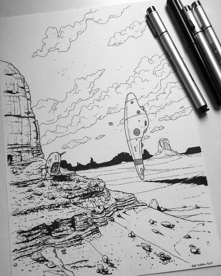 "An impressive #scifi #penandink #illustration by Rob Turpin (@thisnorthernboy) of a small automonous prospecting robot unit (I'll call him SAPRU) for minerals in a landscape reminiscent of Sedona Arizona or Monument Valley in Utah. Impressively enormous natural stone monoliths are surrounded by desolate nothingness. A scout ship waits for its robo-prospector SAPRU to return with its findings.  I love how Rob used scale and perspective in this piece. There are four distinct ""layers"": The…"
