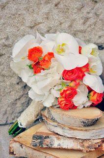 Flowers Garden, passion for colours: Buchet de mireasa,cu orhidee phalaenopsis alba, minirosa orange , hortensie alba, dantela