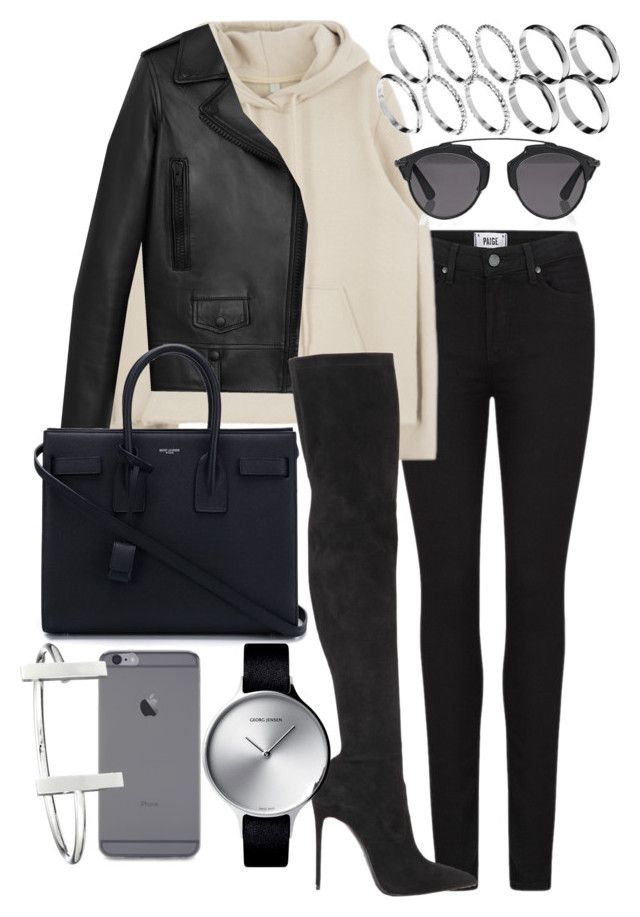 """Jenna"" by bisboringx ❤ liked on Polyvore featuring Paige Denim, Christian Dior, Yves Saint Laurent, ASOS, Le Silla, French Connection and Georg Jensen"
