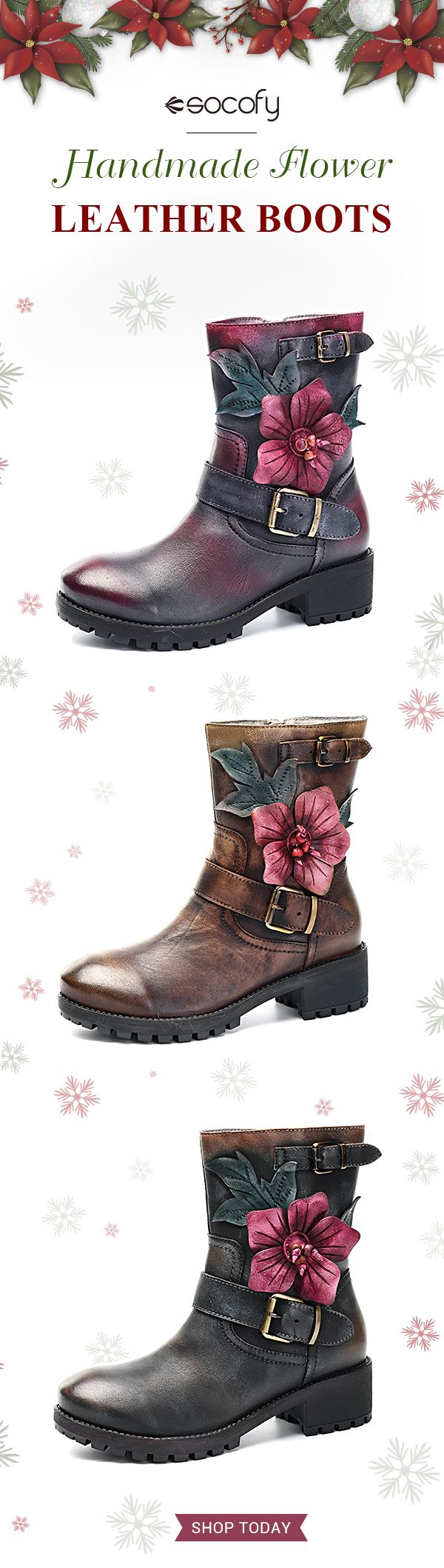 US$58.83  SOCOFY Sooo Comfy Handmade Flower Buckle Ankle Leather Boots