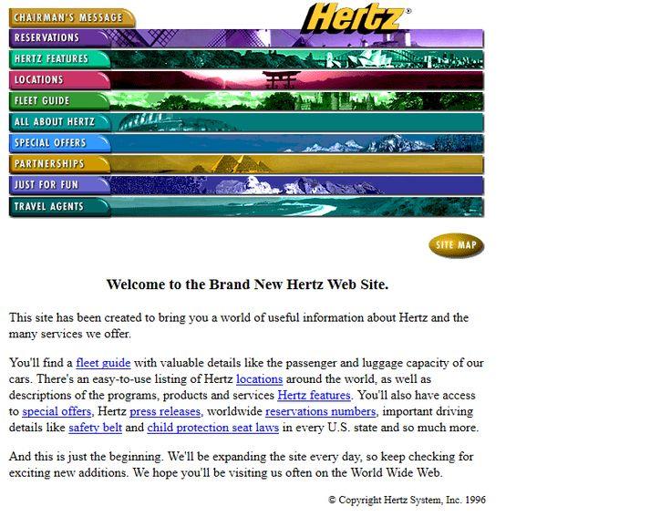 Hertz website in 1996